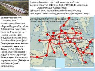 Основной каркас сухопутной транспортной сети региона образуют ЖЕЛЕЗНОДОРОЖНЫ