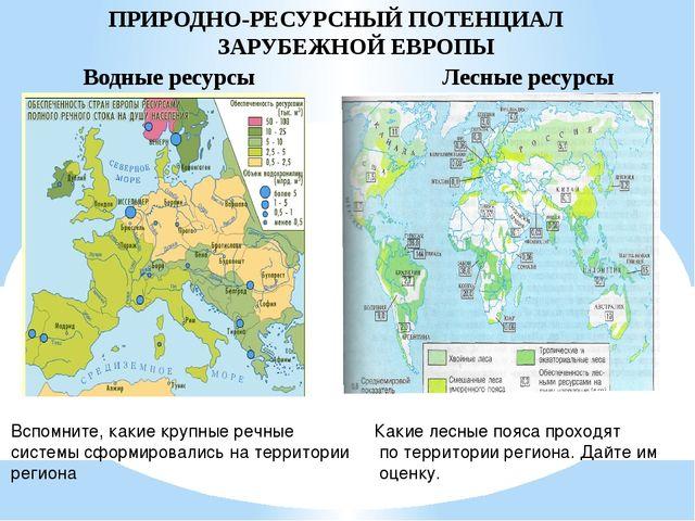 ПРИРОДНО-РЕСУРСНЫЙ ПОТЕНЦИАЛ ЗАРУБЕЖНОЙ ЕВРОПЫ Водные ресурсы Лесные ресурсы...
