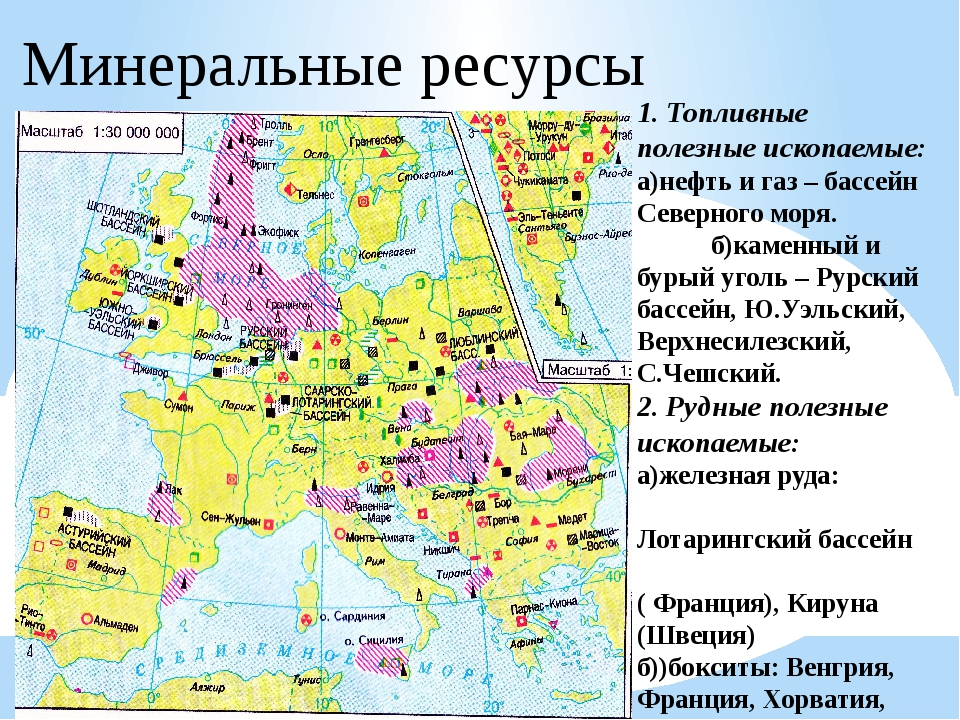 1. Топливные полезные ископаемые: а)нефть и газ – бассейн Северного моря. б)к...
