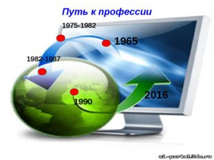 1965 2016 1990 1975-1982 1982-1987 Путь к профессии