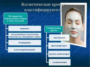Косметические кремы классифицируются