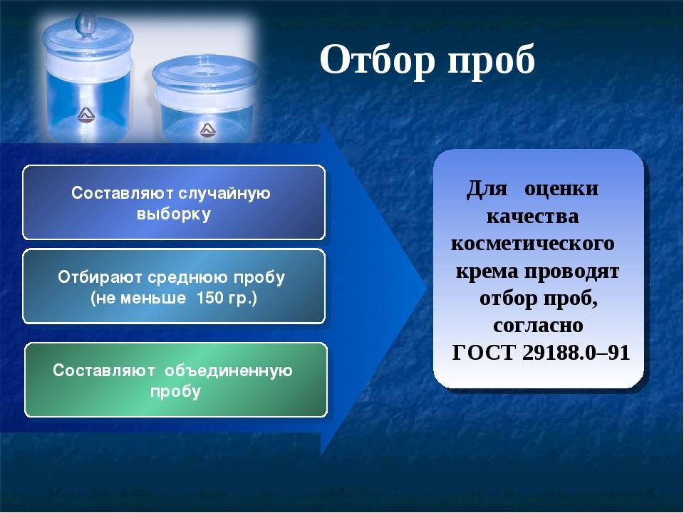 Для оценки качества косметического крема проводят отбор проб, согласно ГОСТ 2...