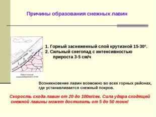 Причины образования снежных лавин 1. Горный заснеженный слой крутизной 15-30º