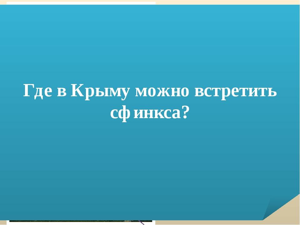 …? …? …? Где в Крыму можно встретить сфинкса?