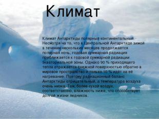 Климат Антарктиды полярный континентальный. Несмотря на то, что в Центральной