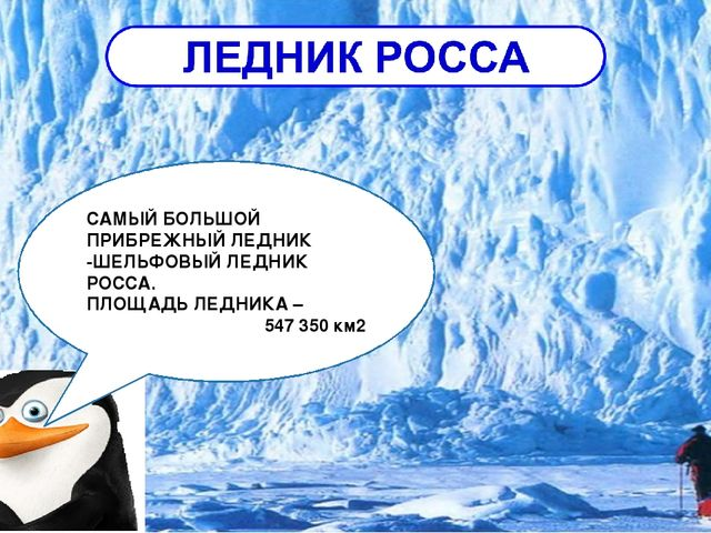 САМЫЙ БОЛЬШОЙ ПРИБРЕЖНЫЙ ЛЕДНИК -ШЕЛЬФОВЫЙ ЛЕДНИК РОССА. ПЛОЩАДЬ ЛЕДНИКА – 54...