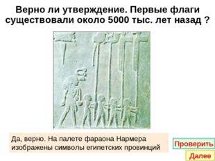Верно ли утверждение. Первые флаги существовали около 5000 тыс. лет назад ? Д