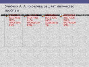 Учебник А. А. Киселева решает множество проблем Как мы видим, учебник А. А. К