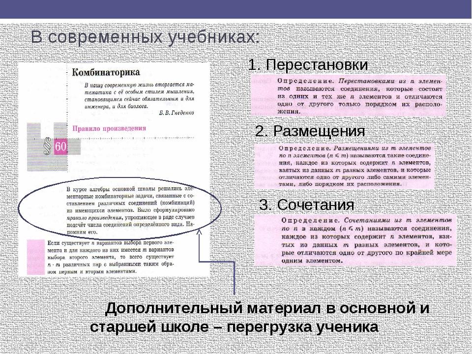 В современных учебниках: Дополнительный материал в основной и старшей школе –...