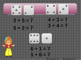 2 + 5 = 7 5 + 2 = 7 4 + 3 = 7 3 + 4 = 7 6 + 1 = 7 1 + 6 = 7 ©Рассохина Г.В.
