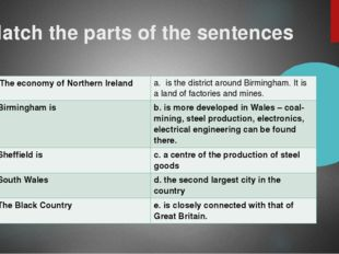 Match the parts of the sentences 1. The economy of Northern Ireland a. is the
