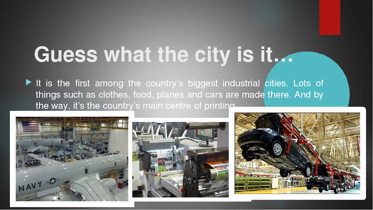 Guess what the city is it… It is the first among the country's biggest indus...