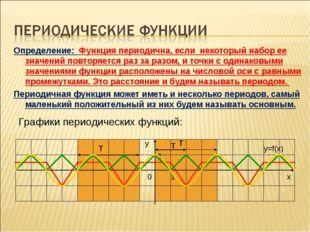 Определение: Функция периодична, если некоторый набор ее значений повторяетс