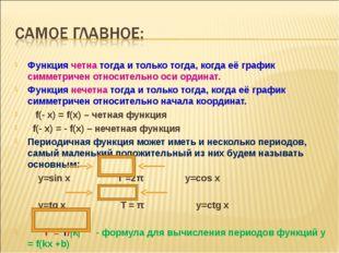Функция четна тогда и только тогда, когда её график симметричен относительно