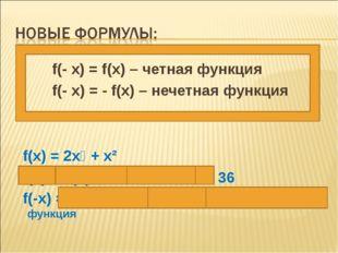 f(- x) = f(x) – четная функция f(- x) = - f(x) – нечетная функция f(x) = 2x⁴