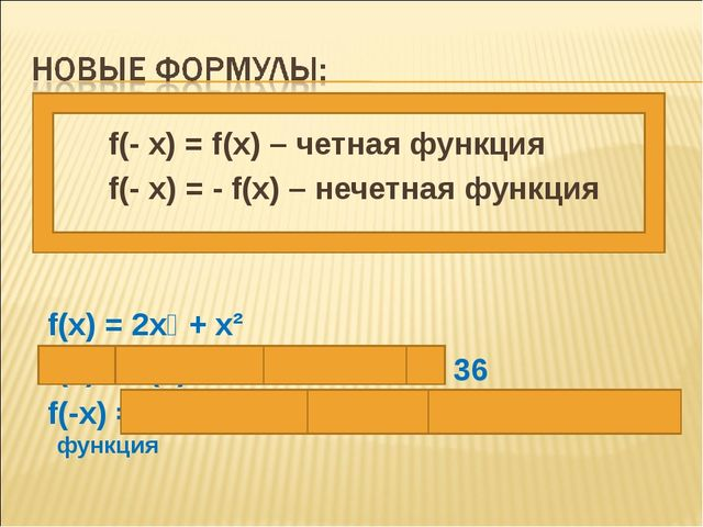 f(- x) = f(x) – четная функция f(- x) = - f(x) – нечетная функция f(x) = 2x⁴...