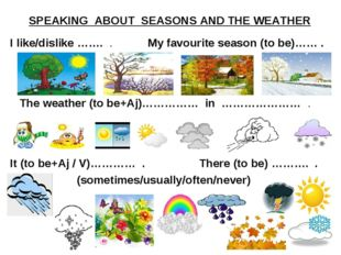 SPEAKING  ABOUT  SEASONS AND THE WEATHER I like/dislike …….  .           Му