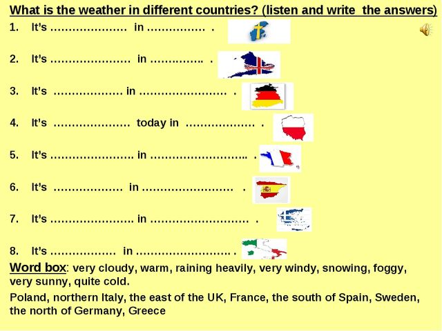 What is the weather in different countries? (listen and write  the answers)...