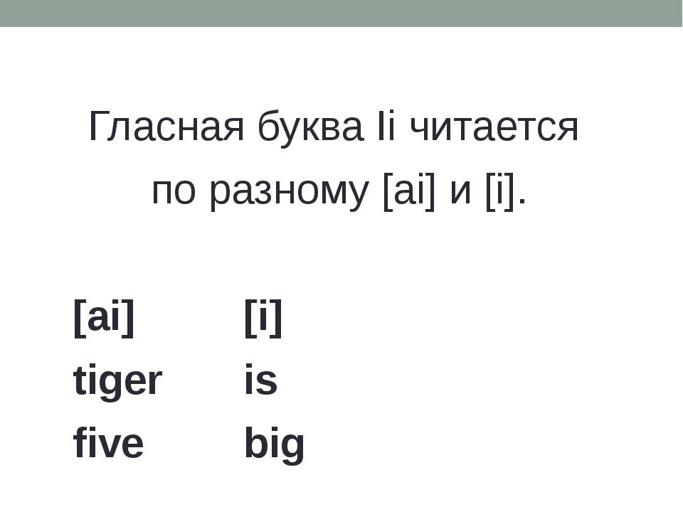 Гласная буква Ii читается по разному [ai] и [i]. [ai][i] tigeris f...