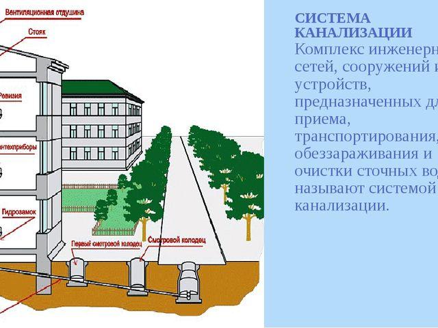 СИСТЕМА КАНАЛИЗАЦИИ Комплекс инженерных сетей, сооружений и устройств, предна...