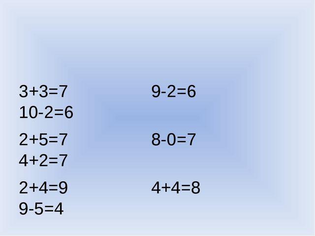 3+3=7 9-2=6 10-2=6 2+5=7 8-0=7 4+2=7 2+4=9 4+4=8 9-5=4