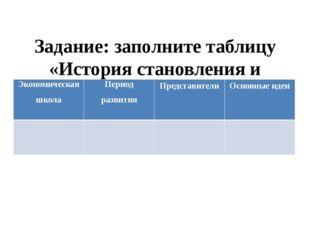Задание: заполните таблицу «История становления и развития экономической нау