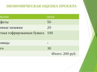 ЭКОНОМИЧЕСКАЯ ОЦЕНКА ПРОЕКТА Название цена Конфеты 50 Длинные шпажки 20 Цветн