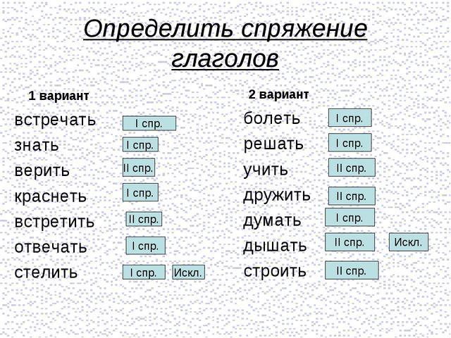 Определить спряжение глаголов 1 вариант встречать знать верить краснеть встре...