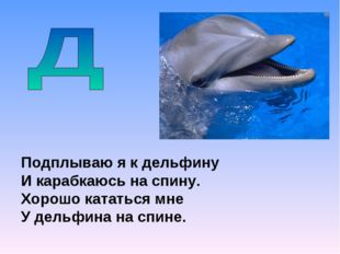 Подплываю я к дельфину И карабкаюсь на спину. Хорошо кататься мне У дельфина