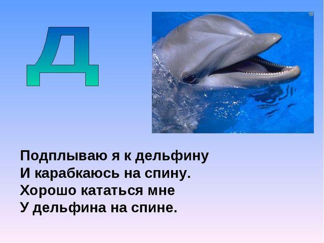 Подплываю я к дельфину И карабкаюсь на спину. Хорошо кататься мне У дельфина...