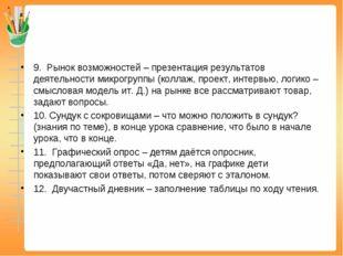 9.Рынок возможностей – презентация результатов деятельности микрогруппы (ко