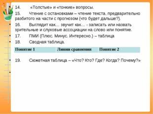 14.«Толстые» и «тонкие» вопросы. 15.Чтение с остановками – чте