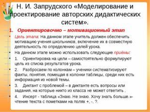 Н. И. Запрудского «Моделирование и проектирование авторских дидактических сис