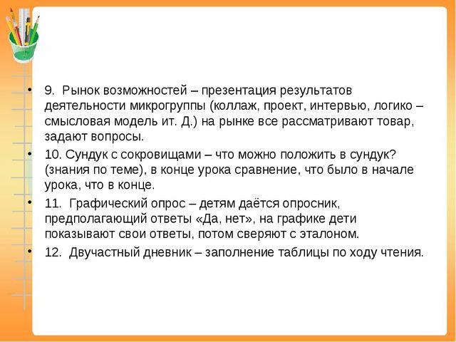 9.Рынок возможностей – презентация результатов деятельности микрогруппы (ко...