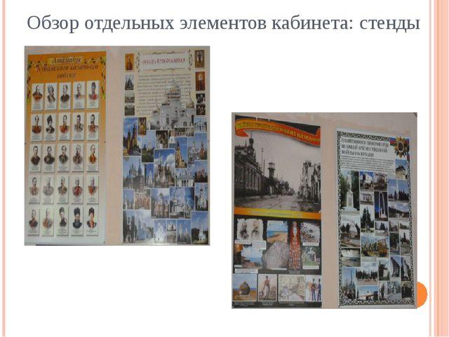 Обзор отдельных элементов кабинета: стенды