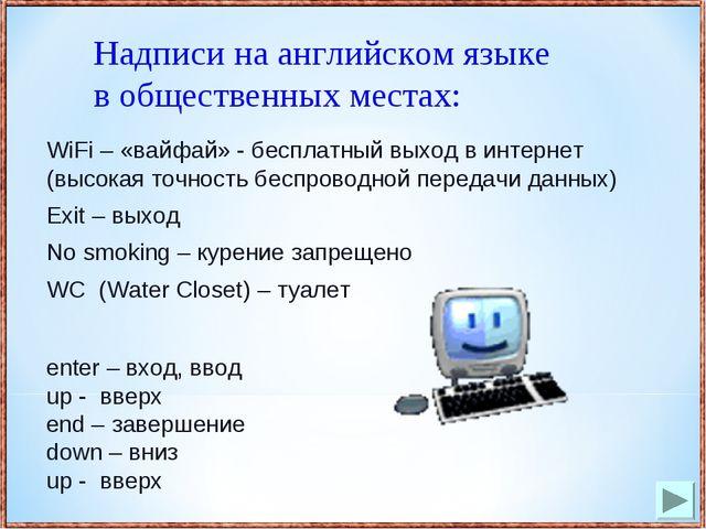WiFi – «вайфай» - бесплатный выход в интернет (высокая точность беспроводной...