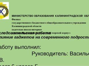 МИНИСТЕРСТВО ОБРАЗОВАНИЯ КАЛИНИНГРАДСКОЙ ОБЛАСТИ Филиал государственного бюд