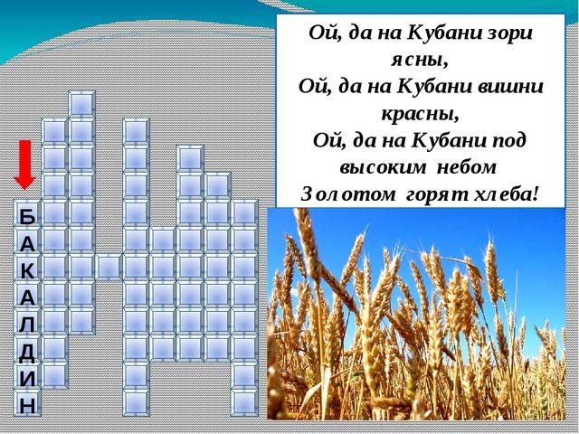 Б А К А Л Д И Н Ой, да на Кубани зори ясны, Ой, да на Кубани вишни красны, О...
