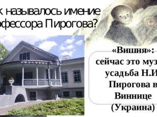 Как называлось имение профессора Пирогова? «Вишня»: сейчас это музей-усадьба