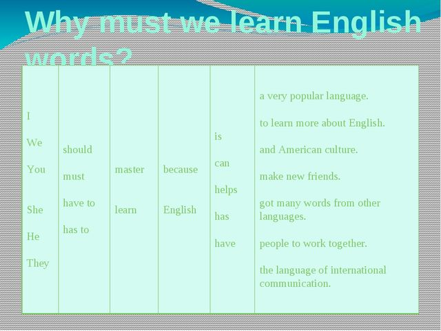 Why must we learn English words? I We You She He They should must have to has...