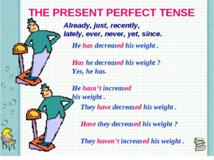 THE PRESENT PERFECT TENSE Already, just, recently, lately, ever, never, yet,