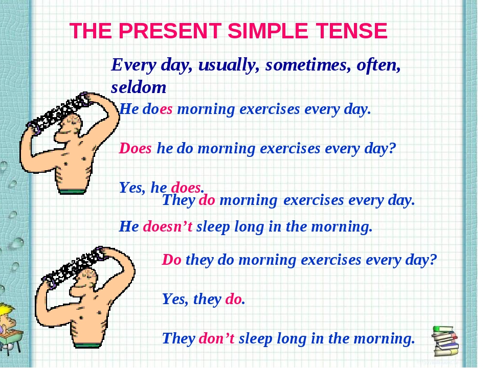 THE PRESENT SIMPLE TENSE Every day, usually, sometimes, often, seldom He does...