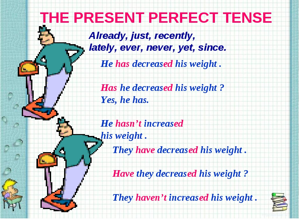 THE PRESENT PERFECT TENSE Already, just, recently, lately, ever, never, yet,...