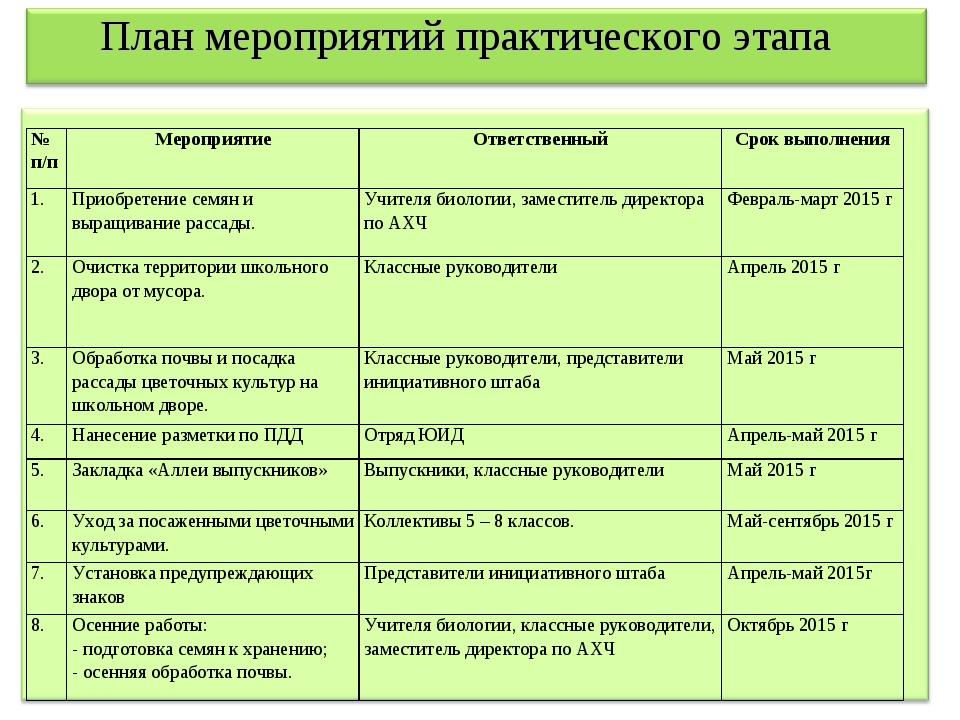 План мероприятий практического этапа № п/пМероприятиеОтветственныйСрок вы...