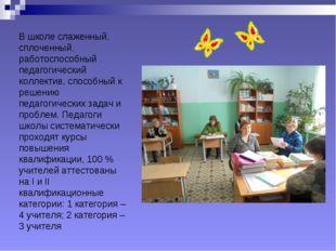 В школе слаженный, сплоченный, работоспособный педагогический коллектив, спос