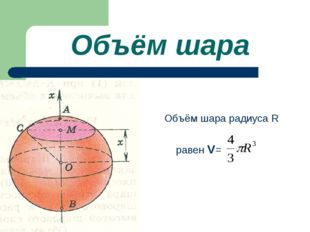 Объём шара Объём шара радиуса R равен V=