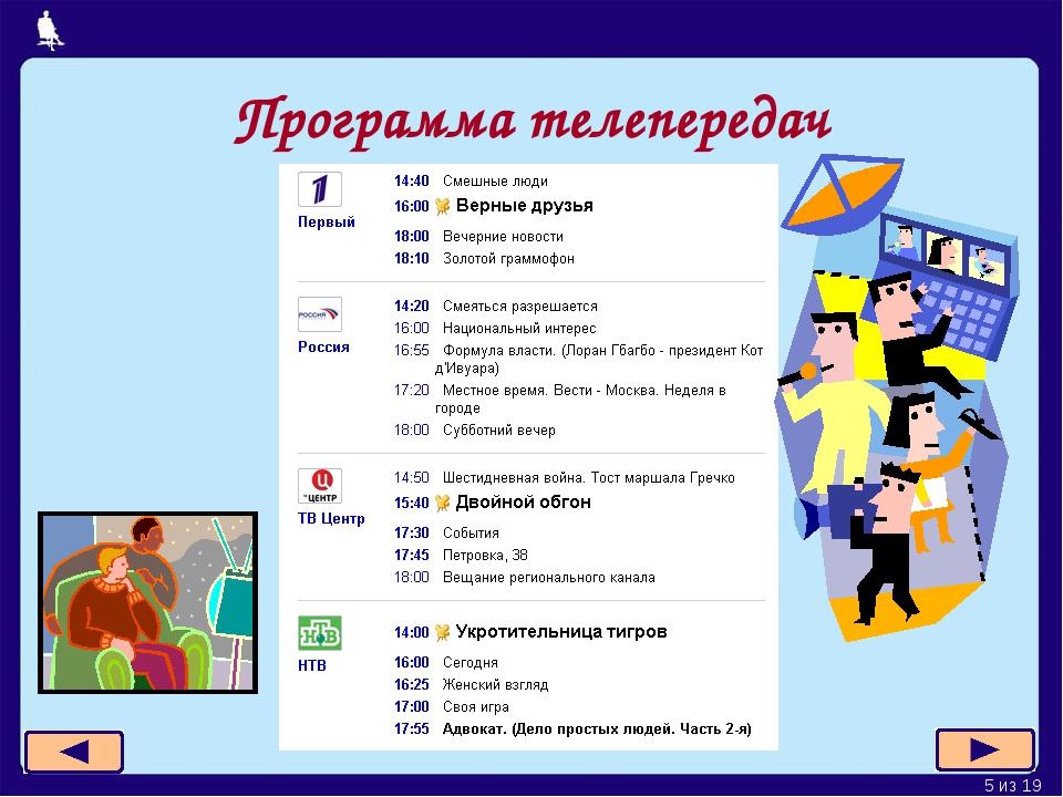 Программа телепередач * из 19