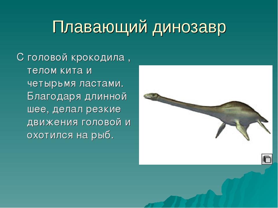 Плавающий динозавр С головой крокодила , телом кита и четырьмя ластами. Благо...