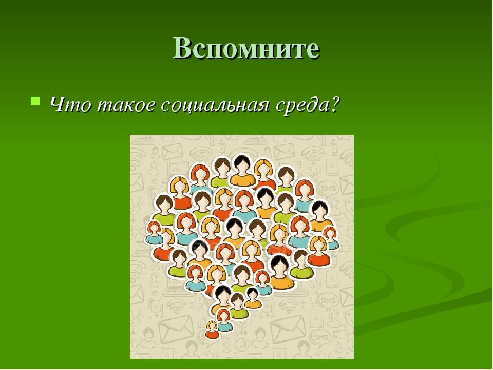 Вспомните Что такое социальная среда?