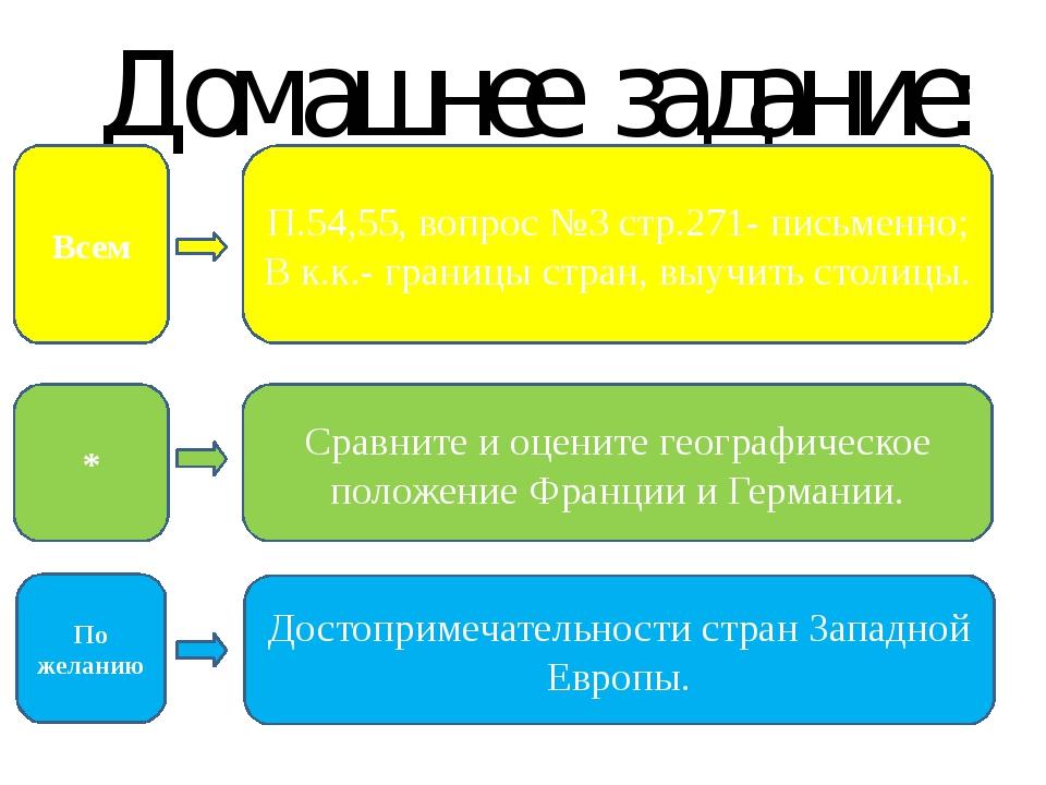 Домашнее задание: П.54,55, вопрос №3 стр.271- письменно; В к.к.- границы стра...